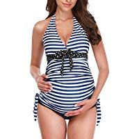 Tempotrek Two Piece Maternity Swimsuits Stripe Halter Swimwear Floral Pregnancy Plus Size Bathing Suits