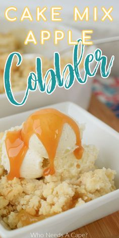 Sometimes the best desserts come from our pantry, this Cake Mix Apple Cobbler is just that. Easy to make, fruity & delicious. Best Dessert Recipes, Fruit Recipes, Desert Recipes, Apple Recipes, Easy Desserts, Fall Recipes, Delicious Desserts, Dessert For Dinner, Dessert Ideas