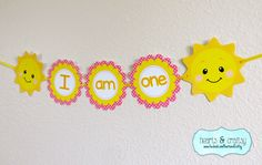"""You Are My Sunshine Birthday """"I Am One"""" Banner / Sunshine Birthday Party Highchair Banner by HeartsandCraftsy 1st Birthday Girls, First Birthday Parties, First Birthdays, Birthday Ideas, Sunshine Birthday Parties, Sunshine Baby Showers, Diy Banner, Cricut Banner, Party Favor Tags"""