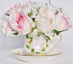 Teacup Silk Floral Arrangement Mixed Cream & by BeautyEverlasting