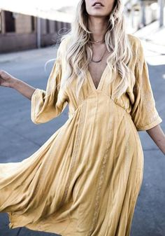 Yellow V-neck Irregular Draped Elbow Sleeve Casual Maxi Dress - Style - Trendy Dresses, Day Dresses, Casual Dresses, Summer Dresses, Bodycon Outfits, Moda Outfits, Hippy Chic, Mode Boho, Maxi Robes