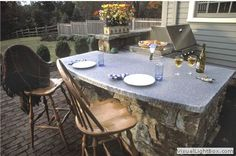 outdoor grill and bar design plans   Outdoor fieldstone kitchen featuring raised stone bar counter, grill ...