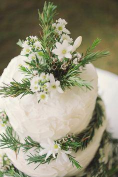 Jay + Maggie - Brooke Courtney Photography / wedding cake / cake topper / evergreen decoration / cakes + dessert /