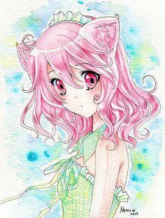 Pink Neko by xNamii on deviantART