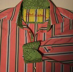 Robert Graham Mens M Pink Green Striped Embroidered Flip Cuff Dress Casual Shirt #RobertGraham #ButtonFront