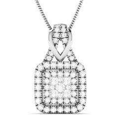 0.79 Carat Natural Diamond Frame Square Cluster Pendant Necklace 14k White Gold #Vijisan #Pendant #ChristmasMemoriaBlackFridayDayValentineDay