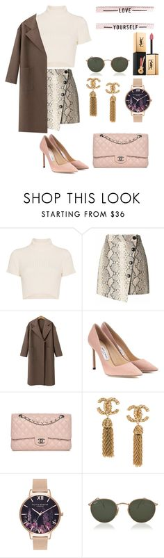 """""""Senza titolo #1971"""" by merypr ❤ liked on Polyvore featuring Staud, Banana Republic, Jimmy Choo, Chanel, Olivia Burton, Ray-Ban and Yves Saint Laurent"""