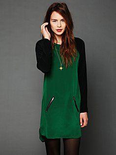 Color block raglan dress