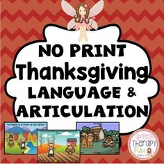 Thanksgiving Language & Articulation Activities - No Print