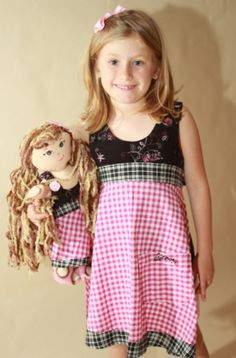 Matching Pink and Black Check Apron for Girls and 18