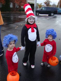 home made Dr. Seuss & thing one and thing two costumes