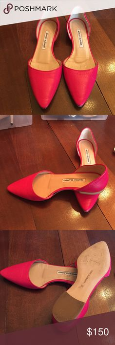 Pink leather D'Orsay Flats MANOLO BLAHNIK Pink Leather D'Orsay flats. Worn 2-3 times, like new no dust jacket. Manolo Blahnik Shoes Flats & Loafers