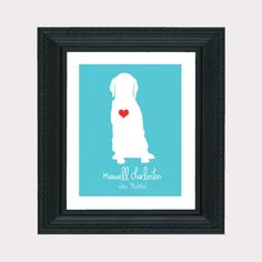 Golden Retriever Custom Pet Gift  Art Print - Personalized Pet Gift, Dog, Animal, Heart, Name, Funny, Cute, Silly, Gift for Friends, Mom