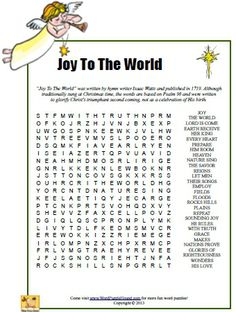 Joy To The World Word Search - Christmas printable puzzle