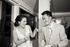 Keran & David! Sign up now ♥  http://www.eharmony.com/social/?cid=68306&aid=7000  Bride and Groom Cut the Wedding Cake - Beach Weddings at The Sunset - Malibu, California - Photography: www.truephotographyweddings.com
