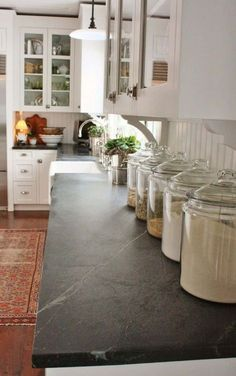 Country Kitchen With Soapstone Countertops And White Cabinets : Installing Soapstone Countertops In Your Kitchen