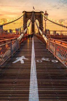 Pedestrian walkway on Brooklyn Bridge, NYC, USA.