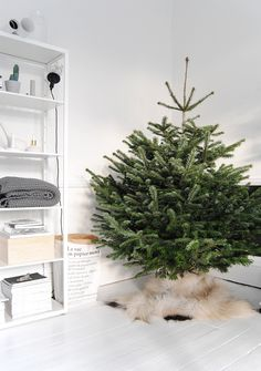 Christmas Tree Base Decor Ideas | Basil Green Pencil - Thinking to pick up fake fur rug in Ikea to create this look