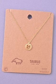 Dainty Circle Coin Taurus Zodiac Symbol Necklace - Gold or Silver