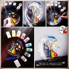Platou decorativ AUTUMN INSPIRATION- sticla - pictat manual cu vopsea speciala de cea mai inalta calitate!!! http://bechic-mihaelacuceu.blogspot.ro/p/atelierul-de-creatie.html