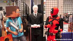 Haha, slender, mine craft guy and deadpool! Minecraft Comics, Deadpool Funny, Dc Anime, Spideypool, Cosplay, Marvel Dc Comics, Marvel Characters, Funny Comics, Hilarious