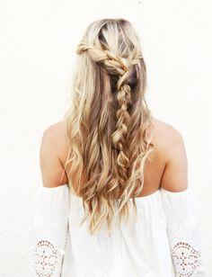 Undone half-up braid