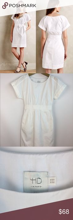 HD in PARIS Ribboned Poplin Tie Sun Dress \\ Sz 2 HD in Paris from Anthropologie Ribboned Poplin Dress Size US 2 White Tie can be tied in front or back Excellent condition. No signs of wear  16 inches from armpit to armpit when lying flat 13.25 inches across waist 35 inches in length Anthropologie Dresses