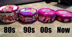 This photograph shows how the confectionery giant has slimmed down tubs of Quality Street three times since The tin is now less than half the size it was ten years ago – when it weighed Old Sweets, Vintage Sweets, Retro Sweets, 1970s Childhood, My Childhood Memories, Sweet Memories, Childhood Toys, Quality Street, British People