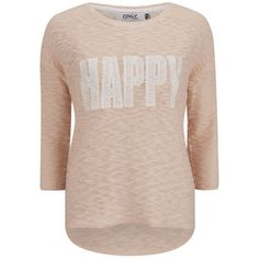 ONLY Women's Happy Slogan Knitted Jumper - Cloud Pink (€21) ❤ liked on Polyvore featuring tops, sweaters, shirts, blusas, long sleeves, pink, lace shirt, crew-neck sweaters, pink long sleeve shirt and 3/4 sleeve sweaters
