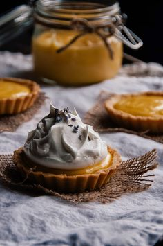 Lemon Lavender Tarts with Honey Meringue via Hint of Vanilla