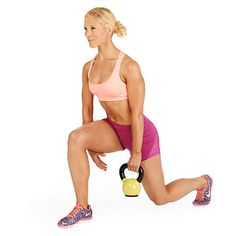 Do as many reps of this Loopy Lunge kettlebell exercise as you can in 1 minute to firm your arms, abs and legs fast.