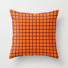 Purple On Orange Grid - Pattern Throw Pillow