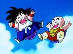 Goku y Krillin después de entrenar con Roshi