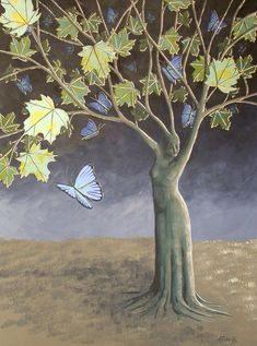 Butterfly Maple Tree Surreal Landscape Painting by annarobertsart