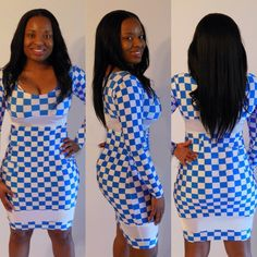 New Long Sleeve Bodycon Bandage Dress Blue and White