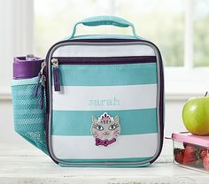 Fairfax Turquoise/White Stripe Lunch Bag #pbkids