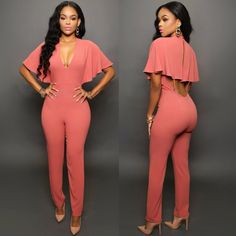 Women Sexy Batwing Sleeve Ruffles Backless Skinny Long Jumpsuit Elegant Slim Deep V Bodycon Rompers Black Pink Clubwear Overalls Fitted Jumpsuit, Backless Jumpsuit, Casual Jumpsuit, Jumpsuit With Sleeves, Elegant Jumpsuit, Bodycon Jumpsuit, Cream Jumpsuit, Jumpsuit Shorts, Romper Pants