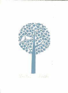 Love Tree Lino Print - Blue - Anniversary or Wedding Gift