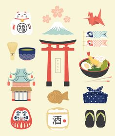 Japan Icons Illustra...