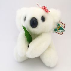 White koala with leaf soft toy. Made in Australia.