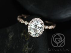 Gwen Rose Gold Oval FB Moissanite and Diamonds Vintage Halo WITH Milgrain Engagement Ring (Other metal/stone options available) Wedding Rings Vintage, Vintage Engagement Rings, Wedding Jewelry, Gold Wedding, Sapphire Wedding, Dream Wedding, Trendy Wedding, Popular Engagement Rings, Wedding Ideas