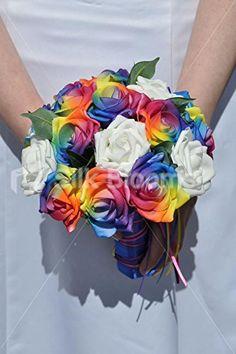 Multicoloured Rainbow Rose Bridesmaids Wedding Bouquet w/ Ribbon