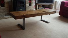 Lovely chunky 70 mm thick coffee table with steel L shaped legs