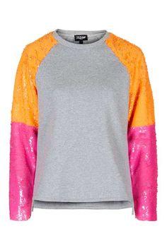 **Sweatshirt With Colourblock Sequin Sleeves by Jaded London