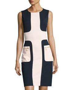 NEIMAN MARCUS COLORBLOCK ZIP-POCKET SHEATH DRESS, BLUE/PINK. #neimanmarcus #cloth #