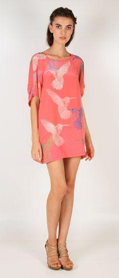 Tibi Hummingbird in Pink: Great mini length and beautiful hummingbird print.