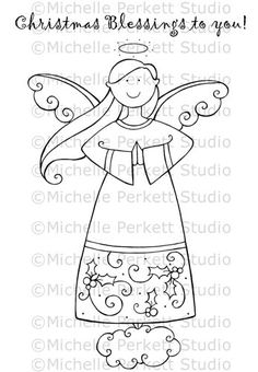 Digital Stamp  Christmas Blessings Angel by michelleperkett, $4.00