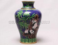 10' China Bronze Cloisonne Enamel Art Lovely National Treasure Panda Vase Big Panda, Panda Bear, National Treasure, Enamel, Bronze, Vase, China, Awesome, Ebay
