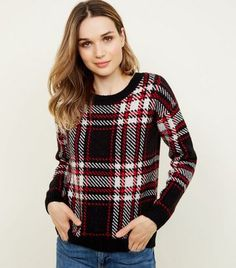 Red and Black Check Jumper Oversized Jumper, Chunky Knit Cardigan, New Look Uk, Knit Dress, Knitwear, Knitting, Blouse, Red, Sweaters
