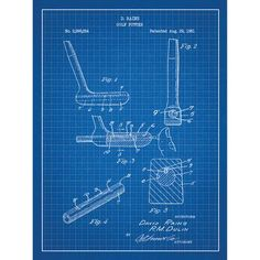 Inked and Screened Sporting Goods 'Golf Putter' Silk Screen Print Graphic Art in Blue Grid/White Ink